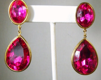 SALE Earrings, Large Fuscia Rhinestone Drop Dangle Posts, Gold Metal 1990s Unused,Gift Worthy, Quantity for Bridesmaids Available