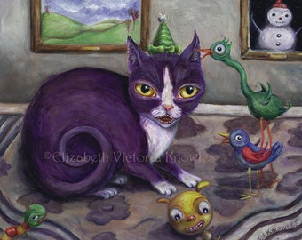 Cat Art Print, Surreal Art, Bird Art, Scary Birthday Party, Spooky Art Print, Pop Surrealism, Lowbrow Art, Scary Toys, Giclee. Matted Print