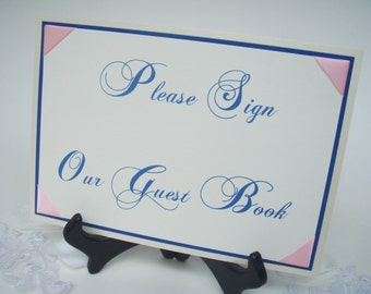 Please Sign our Guest Book And Dancing Shoes Package Deal- PINK and Cream and Blue-Ready to Ship