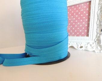 "5/8"" Inch Fold Over Elastic - 5 Yards of Dark Turquoise FOE"