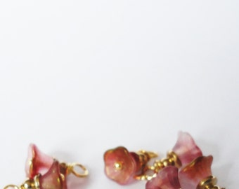 Free Ship Pink Gold Blossoms Flowers crystal bead faceted Swarovski  Charms Small dangle beads jewelry supplies