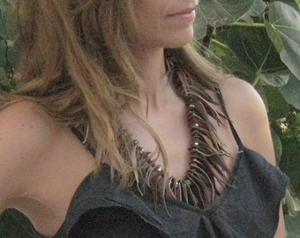 Boheme Fringe Leather Necklace In Earth Tones with Crystals. Leather Jewelry