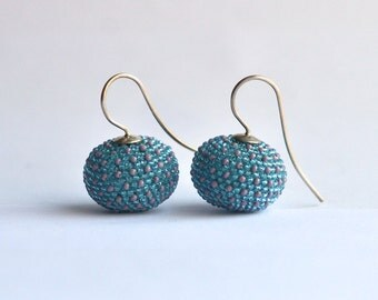Earrings turquoise and lilac dots with silver hooks