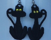 Black cat earrings, Halloween, pierced, surgical steel wires, Swarovski crystal dangle, READY TO SHIP