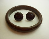 Brown Bakelite Bangle w Matching Button Earrings SET