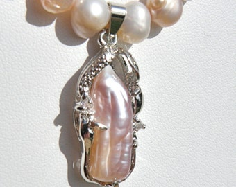20% OFF SALE --- Potato Pearl Necklace with Pearl Pendant