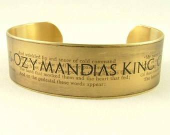Ozymandias Sonnet by Percy Bysshe Shelley - Ramesses II  Brass Cuff - King of Kings Classic Literary Poetry Quote