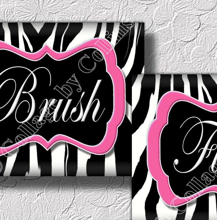 Zebra Print Bathroom Wall Decor : Pink zebra print wall art bathroom decor by
