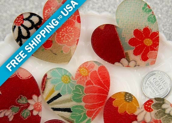 45mm Real Japanese Kimono Silk Resin Heart Cabochons - Red Series - 2 pc set