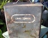Vintage Metal Tool Box...Sears Craftsman Steel Storage Case...Industrial...Timeworn...Rusty...Gift gor Him...Masculine Man Cave Decor