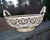 Vintage Metal Cream Round Basket...Fancy Scrollwork...Shabby Style...Centerpiece Basket...Distressed Patina...Cottage Chic...Fruit Basket