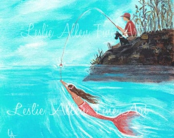 "Boy Painting Boy Art Mermaid Painting Mermaids Art Mermaid Theme Fishing Ocean Fun Fantasy ""Surprise Catch"" Leslie Allen Fine Art"