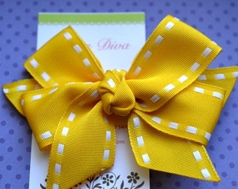 All Stitched Up...Big Stitches....Classic Diva Bow in Yellow