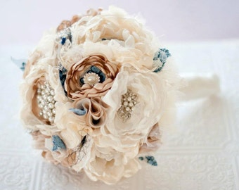 Fabric Bouquet, Silk Flower Wedding Bouquet Fabric Brooch Bouquet bridal rhinestone and pearl brooches silk flowers, navy taupe tan broaches