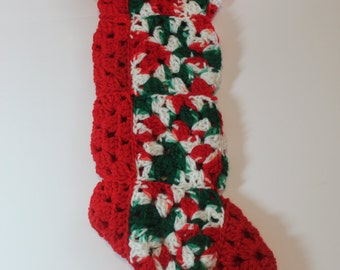 """Christmas Stocking - 18"""" by 6""""  crochet granny squares"""