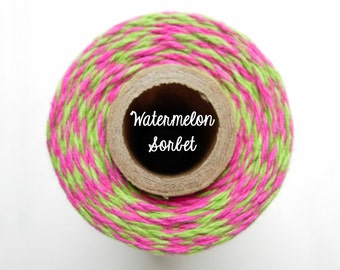 SALE - NEW Pink and Lime Green Bakers Twine by Timeless Twine - Watermelon Sorbet