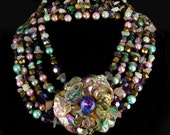 Reserved for PC Vintage Statement necklace Earrings gemstones pearls chandelier drops HUGE set