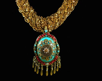 Bohemian Queen Statement collar necklace HUGE Persian turquoise chandelier with tassels