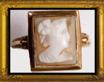 Antique Neoclassical GOLD shell Cameo RING size 8 victorian jewelry