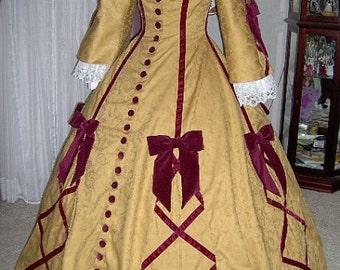 FOR ORDERS ONLY - Custom Made - 1800s Victorian Dress 1860s Civil War Gown - Wedding Bridal Tea Reenactor