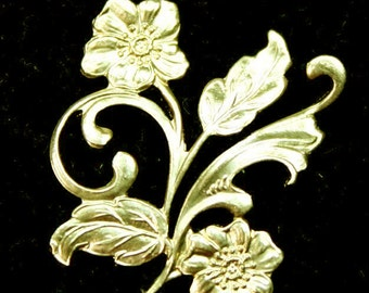 Raw Brass Filigree Stamping Flower Premium Quality USA G5953 -2pcs