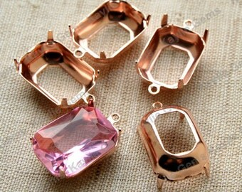 18x13 Octagon Prong Setting Rose Gold Plated Open Back 1 Ring or 2 Ring - 4pcs