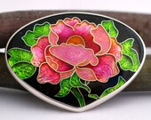 Reserve Listing For Lynn - Peony In Bloom - Cloisonne Enamel, 24K Yellow Gold, and Sterling Silver Pendant