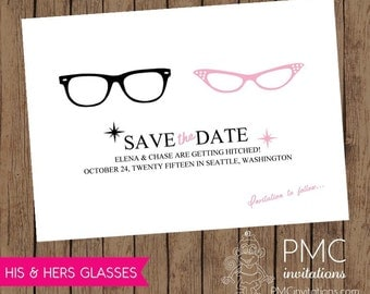 His & Hers 50's Style Glasses Wedding Save the Dates Retro Glasses - 1.00 each with envelope