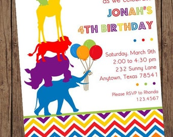 Wild Animals Birthday Invitations - 1.00 each with envelope