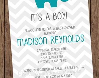 Grey Chevron Elephant Baby Shower Invitations - 1.00 each with envelope
