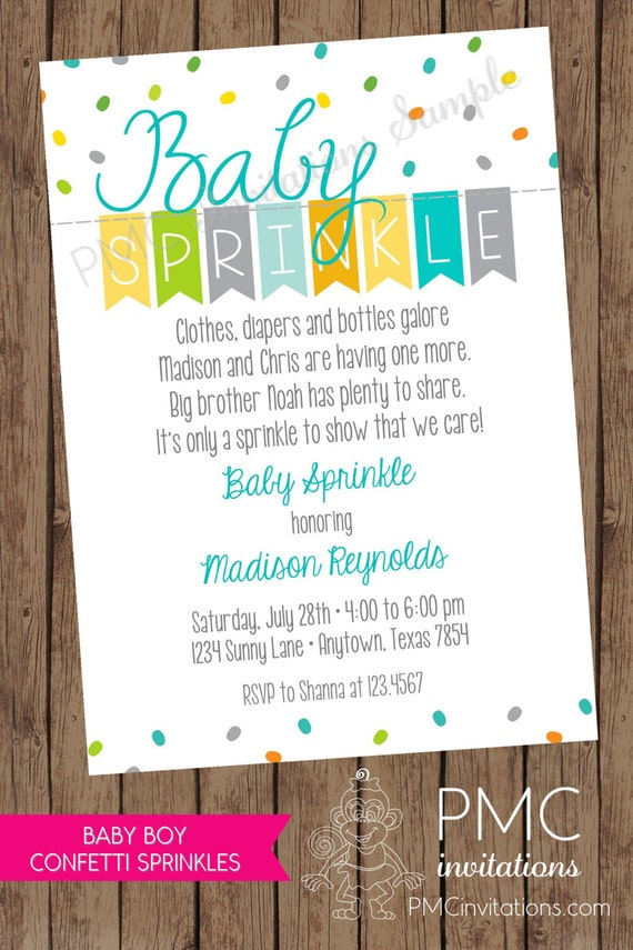 Custom PRINTED Baby Sprinkle Invitations ... 1.00 each with ...