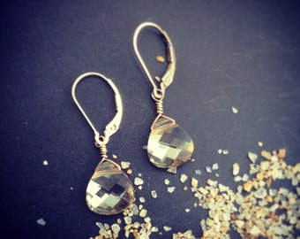 Champagne Thursday Earrings Swarovski Crystal Briolettes in 14k Gold or Sterling Silver
