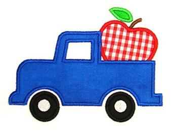 Machine Embroidery Design Applique Apple Truck INSTANT DOWNLOAD