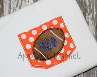 Machine Embroidery Design Applique Appli-Pocket 2 with Football INSTANT DOWNLOAD
