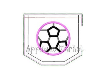 Machine Embroidery Design Applique In the Hoop Pocket with Soccer Ball INSTANT DOWNLOAD