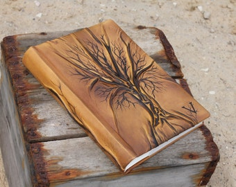 Leather Wedding album 13 x 9  with Tree of Life for 300 photos