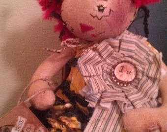Hunnie Bea Wins First Prize, Original Primitive Raggedy Doll Pattern, PDF version