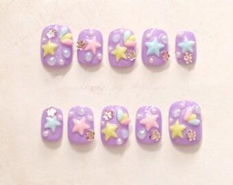 Short nails, pastel nail, kawaii nail, 3D nails, purple nail, lilac, shooting star, lolita accessory, sweet lolita, fairy kei, Japanese nail