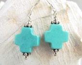 Turquoise Cross Earrings, Handmade by Harleypaws, OOAK SRADJ