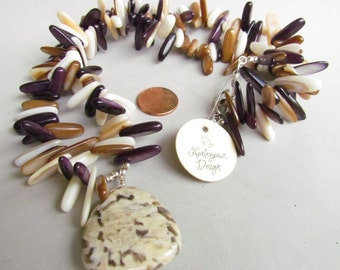 SALE! Fall Beaded Shell Necklace. Brown and Cream, Handmade by Harleypaws, SRAJD