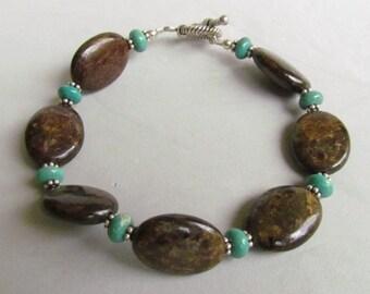 Brown Semi-precious Stone Bracelet,  Handmade by Harleypaws, SRAJD