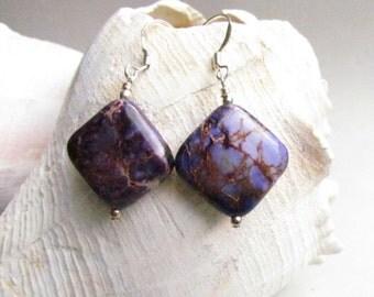 Purple Ocean Jasper Beaded Earrings, Handmade by Harleypaws, SRAJD