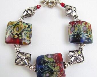 Lampwork Beaded Bracelet, Lampwork Bracelet, Red and Blue, Sterling Silver, Handmade by Harleypaws, SRAJD