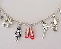 Wizard of Oz bracelet, Wizard of Oz charm bracelet, ruby slippers charm, Dorothy, Toto, cowardly lion, scarecrow, tin man, rainbow, movie