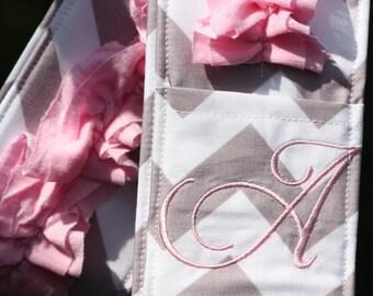 Monogrammed Ruffled Camera Strap Cover - Grey Chevron/ Light Pink