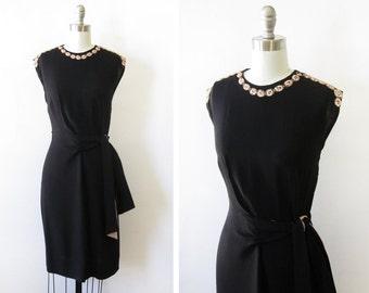 40s black dress, vintage 1940s crepe dress, 40s cocktail dress, small medium