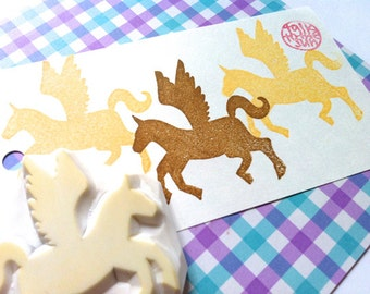 pegasus silhouette hand carved rubber stamp. horse stamp. diy fairy tale birthday party favors. gift wrapping