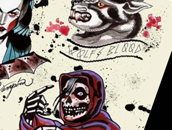 halloween tattoo flash danzig misfits samhain print signed and