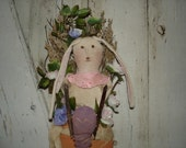 Carrot Stocking with Bunny Door Hanger, Primitive, Rustic, Bunny, Carrot, Door Hanger, Home Decor, Easter,  Spring, OFG, FAAP, HAFAIR