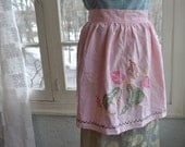 Pretty in Pink Vintage 1960s Cotton Hostess Apron With Cross Stitch Pears